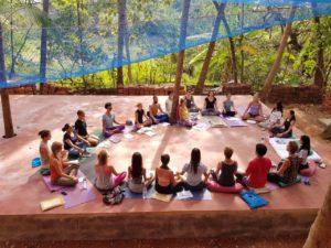 Students practicing Yoga in Asan Yoga School in Goa
